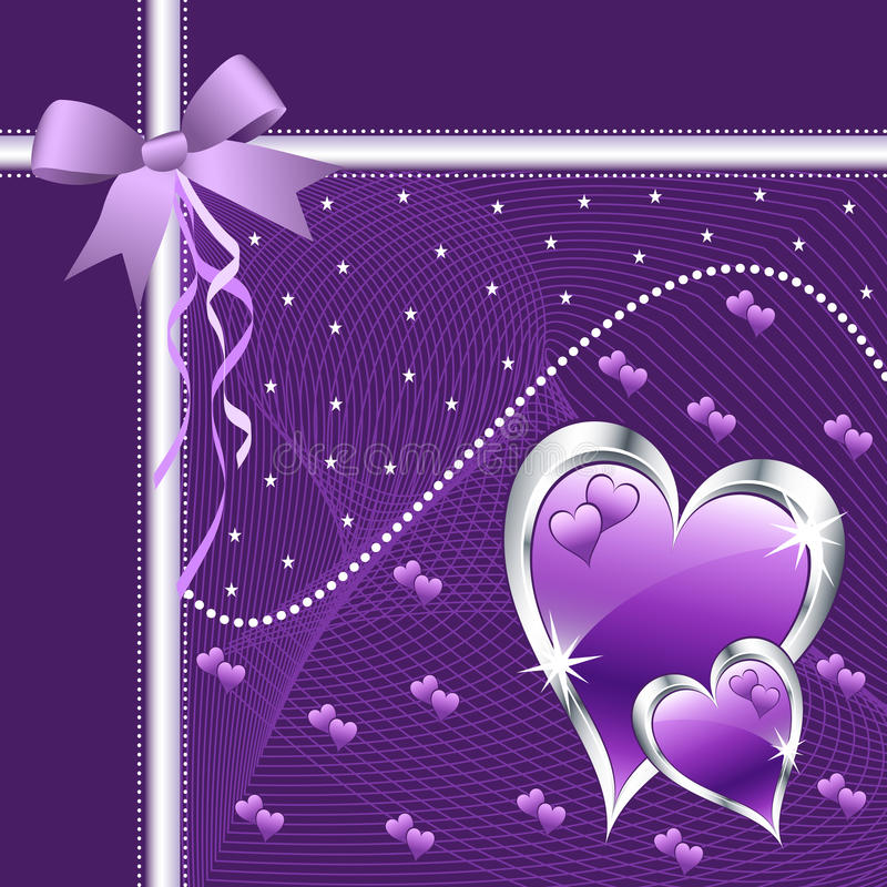 Purple love hearts and bow. stock illustration