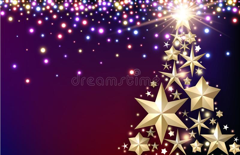 Purple background with Christmas tree. stock illustration