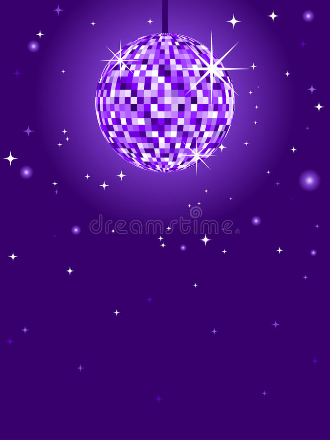 Purple Mirror Discoball. Glittering discoball with stars against a purple background stock illustration