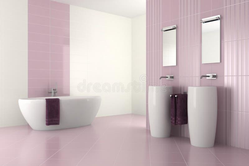 Purple modern bathroom with double basin vector illustration