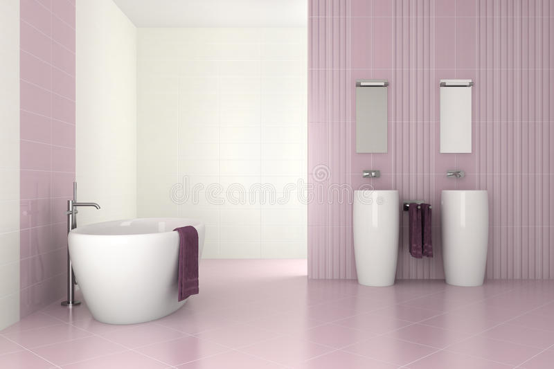Purple modern bathroom with double basin vector illustration