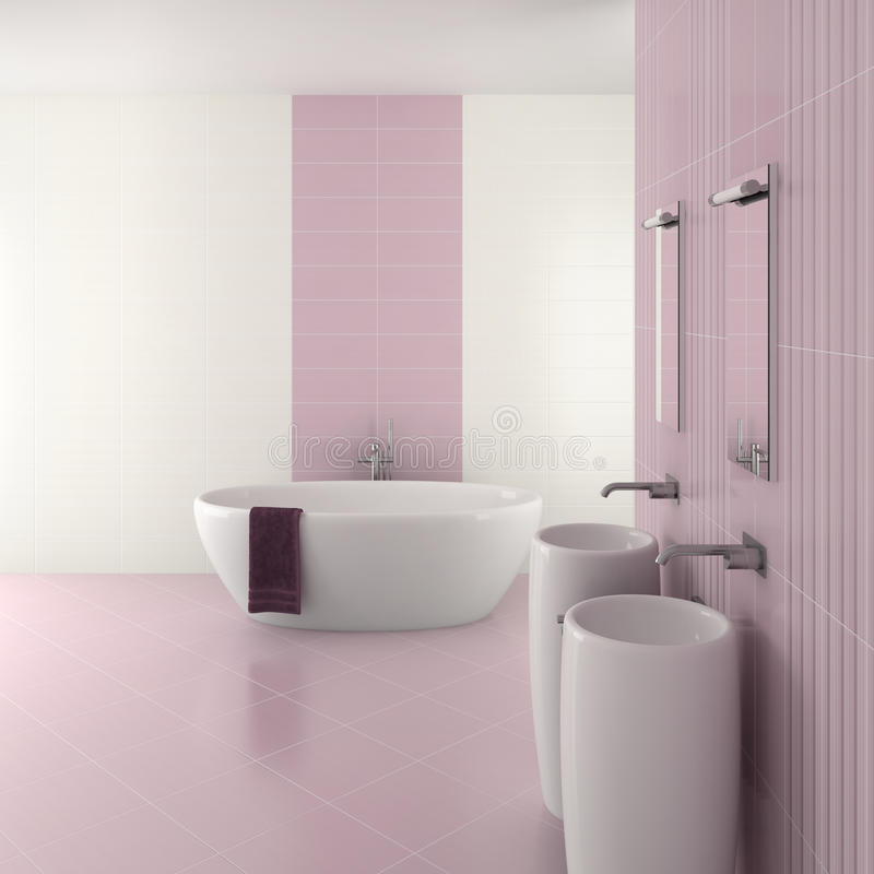 Purple modern bathroom with double basin royalty free illustration