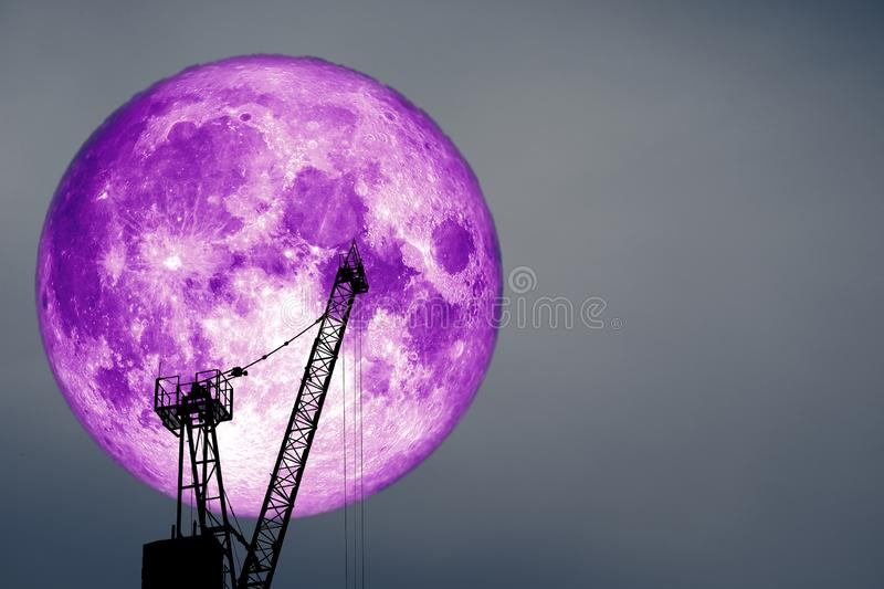 purple moon on colorful cloud and on night sky stock images