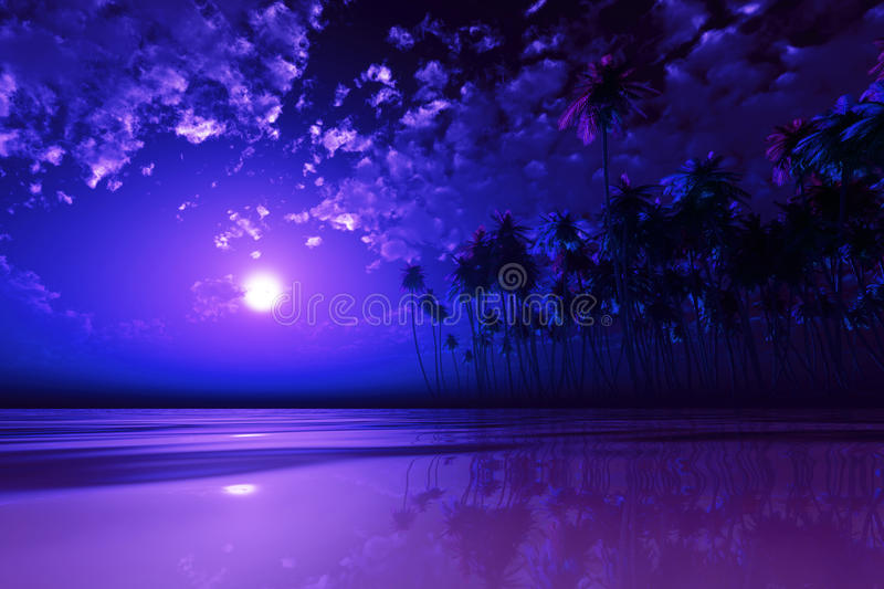 Purple moon over tropic sea stock photos