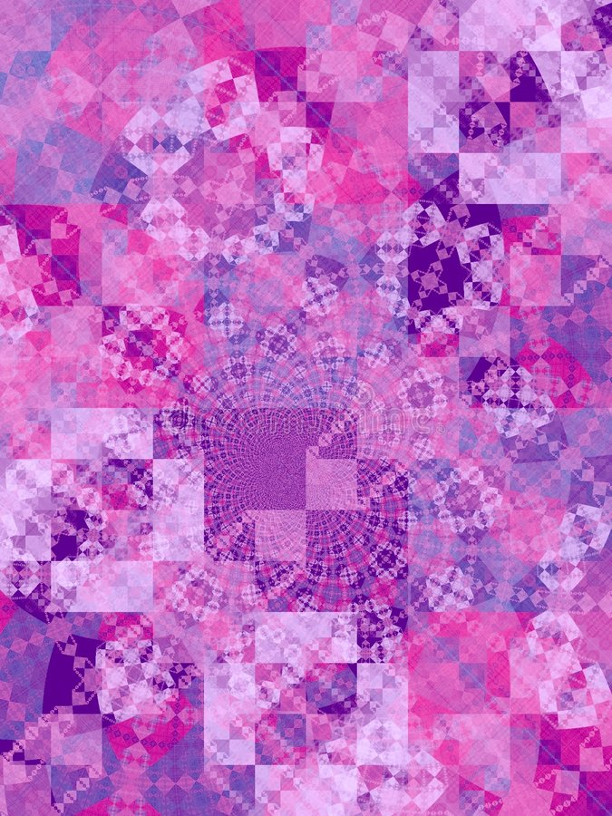 Purple Mosaic Squares Texture. An abstract quilt blocks, tiles and squares pattern fractal texture in purple and pink colors stock photo