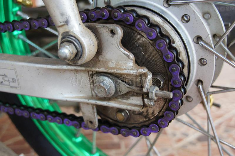 Purple motorcycle chain stock photo