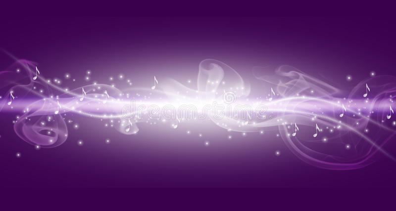 Purple Music Background With White Bright Line And Notes ...