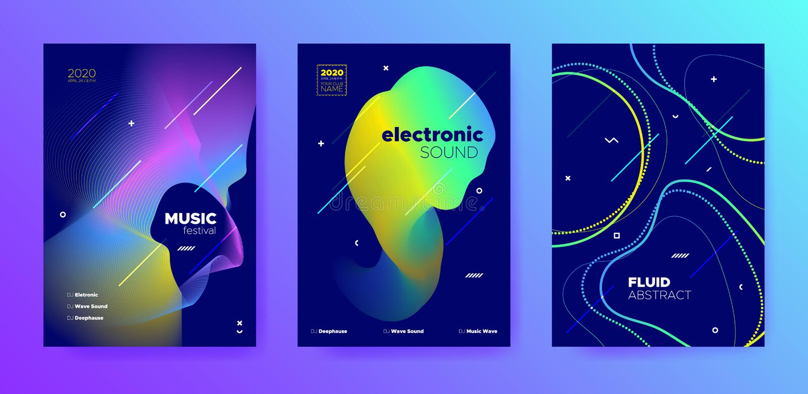 Purple Music Poster. Minimal Lines. Techno royalty free illustration