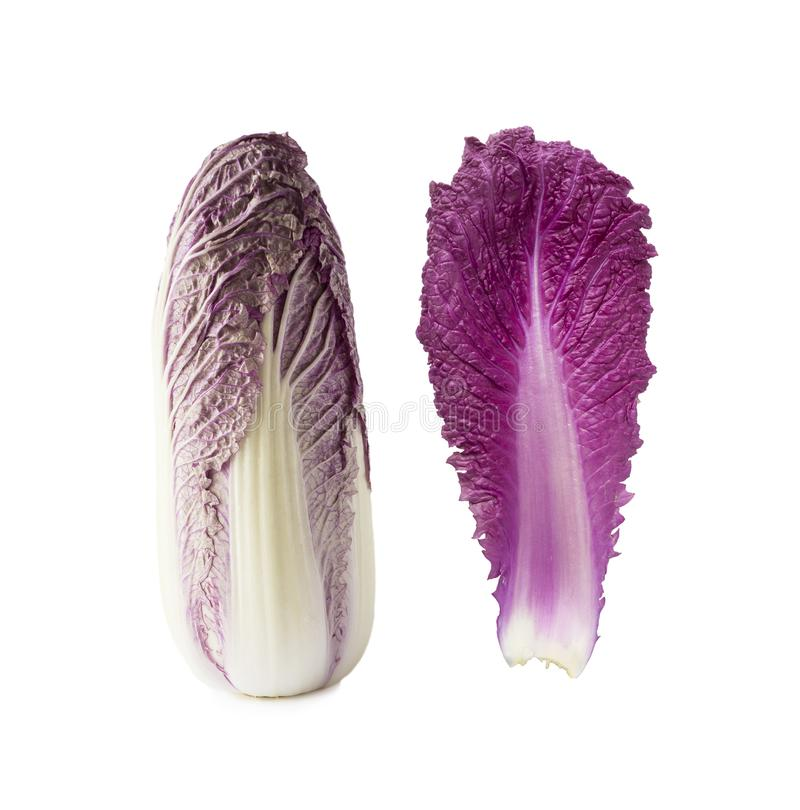 Purple napa cabbage. Red Napa, Chinese Cabbage on white. Purple chinese cabbage isolated on white. Background royalty free stock images