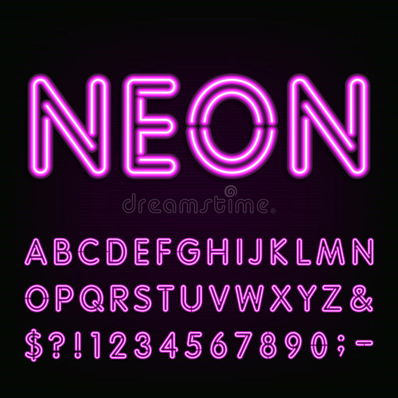 Free Purple Neon Light Alphabet Font. Stock Photos - 63849513