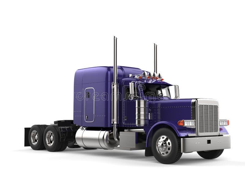 Purple new shiny long haul truck. Isolated on white background stock illustration