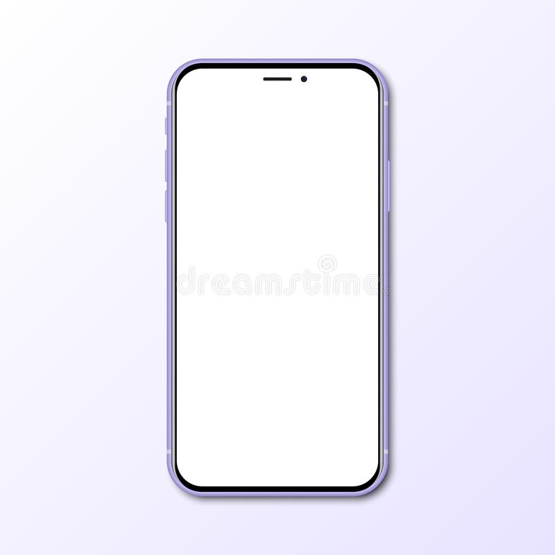 Purple new smartphone with blank screen with shadow royalty free illustration