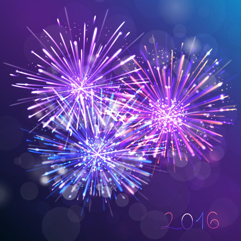 Purple new year fireworks background. Greeting the new year stock illustration
