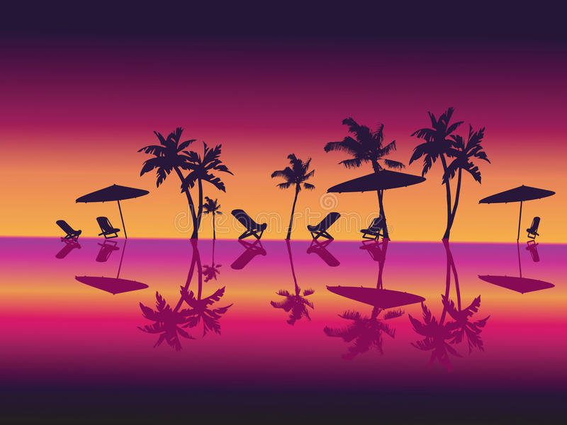 Download Purple Night Sea Palms Beach. Stock Vector - Illustration: 13063235