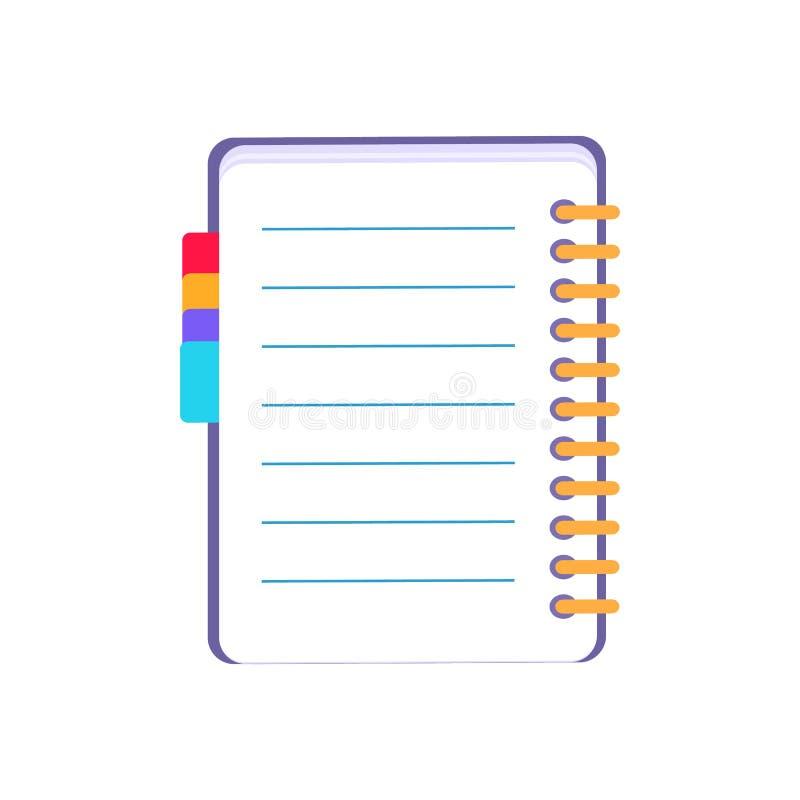 Purple Notebook Icon Vector Illustration on White stock illustration