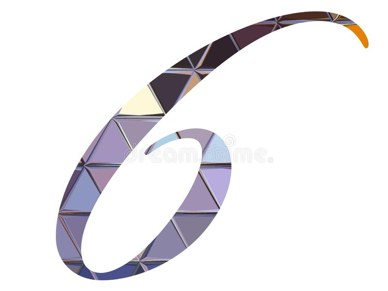 Purple number six logo icon. Purple number six logo sign icon isolated on white background royalty free illustration
