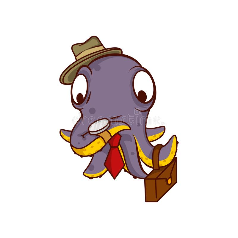 Purple octopus businessman with suitcase, watching on clock. Humanized sea creature in hat and tie. Cartoon vector icon stock illustration