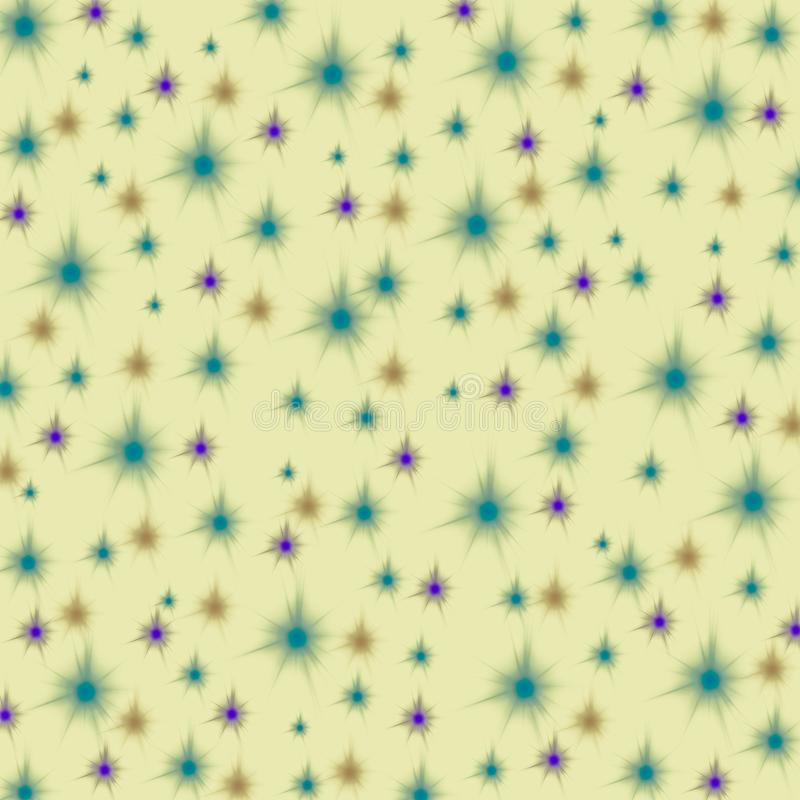 Purple, orange and blue stars on a pastel yellow background, seamless endless pattern stock illustration