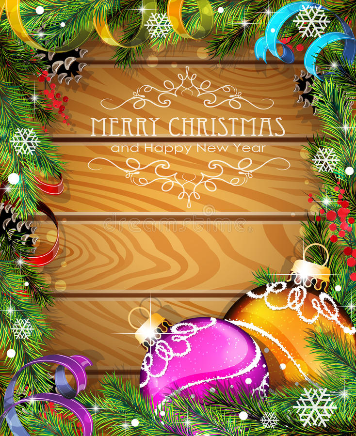 Purple and orange Christmas balls on wooden background. Purple and orange Christmas balls, cones, berries and fir tree branches on wooden background stock illustration