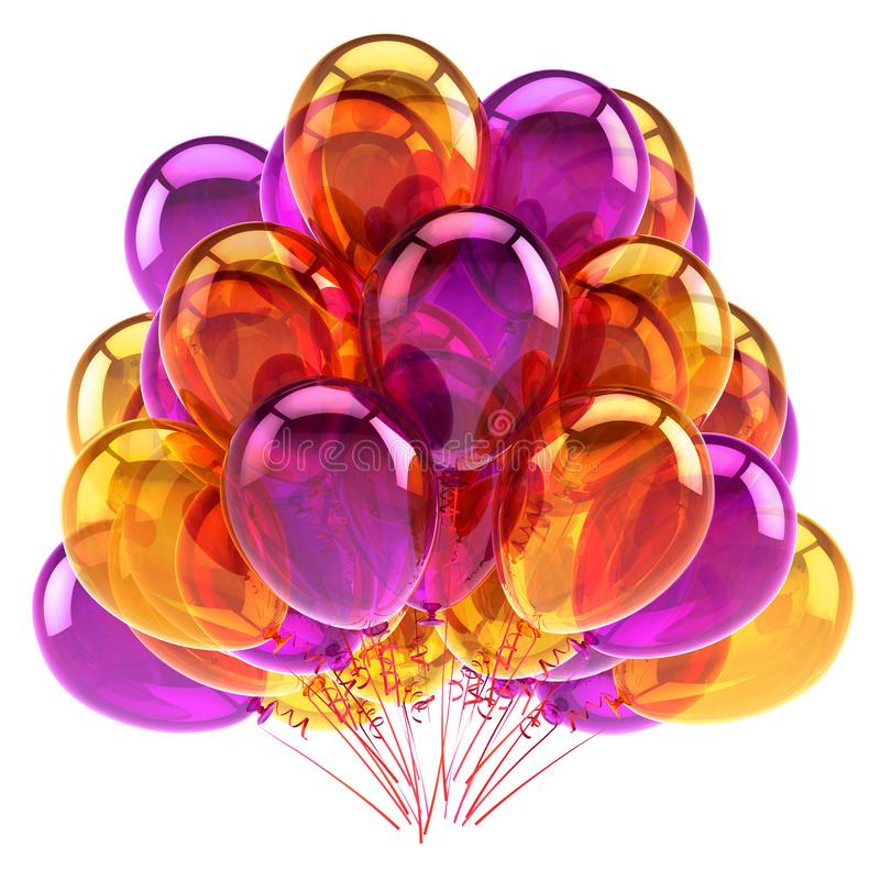 Purple orange colorful party balloons bunch glossy royalty free illustration