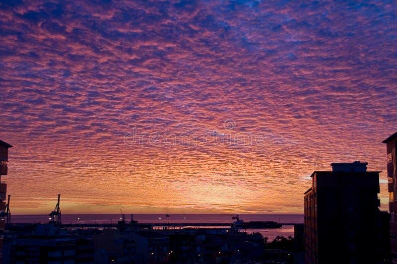 Cloudy Sunrise in Alicante stock photo