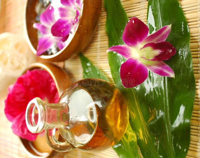 Download Purple Orchid And Massage Oil Stock Image - Image: 2766407