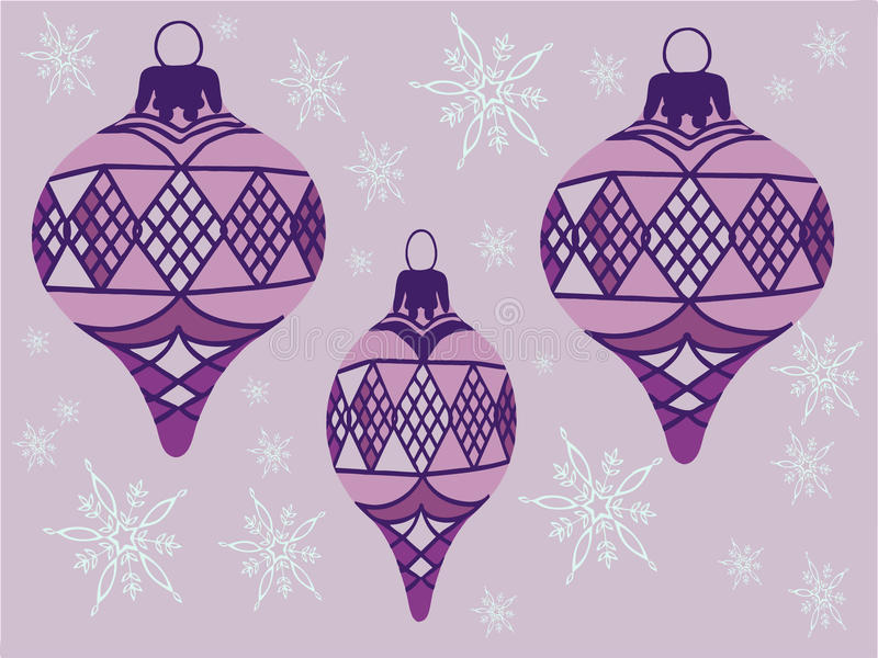 Purple ornaments Illustration. Vector with purple ornaments and snowflakes royalty free illustration