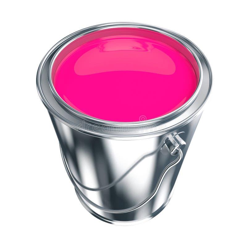 Purple paint is in a bucket