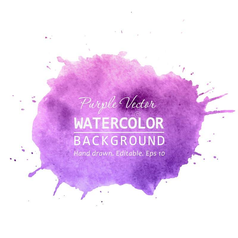 Purple paint splatter background vector. Watercolor splatter vector background for text, banner label, logo design. Watercolor paint splatter vector background royalty free illustration