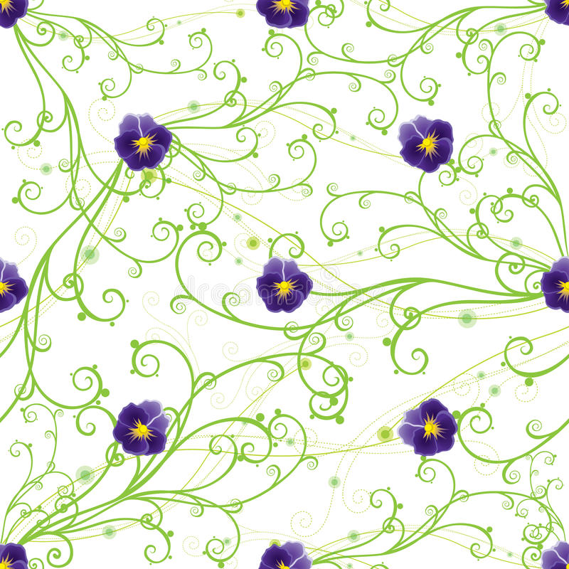 Purple pansies and green swirls. Seamless pattern with purple pansies and green swirls stock illustration