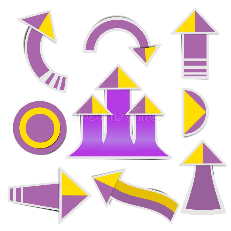 Purple paper arrow and yellow paper arrow stickers with shadows royalty free illustration