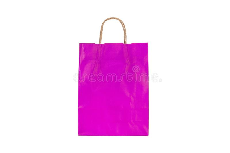 Purple paper gift bag royalty free stock photo