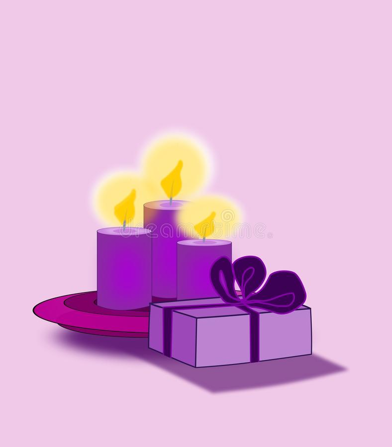 Purple Parcel And Candles Stock Photos