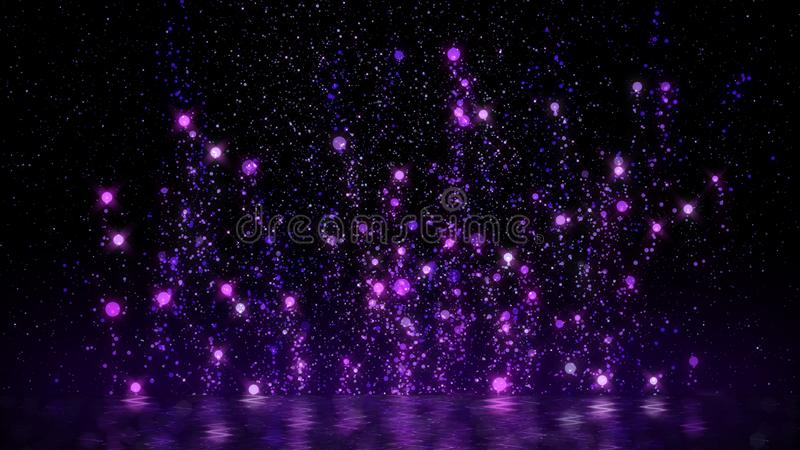 Purple particle rising floating around abstract  glittering background festive season happy new year and merry christmas stock photos
