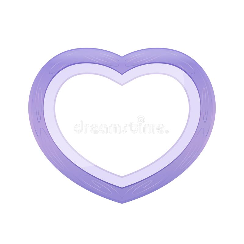 Purple pastel color wood frame Heart shape isolated white background, Heart-shape frame for lover photo wedding and familly,. The Purple pastel color wood frame stock illustration