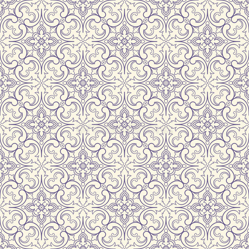 Purple pattern with flowers and swirls royalty free illustration