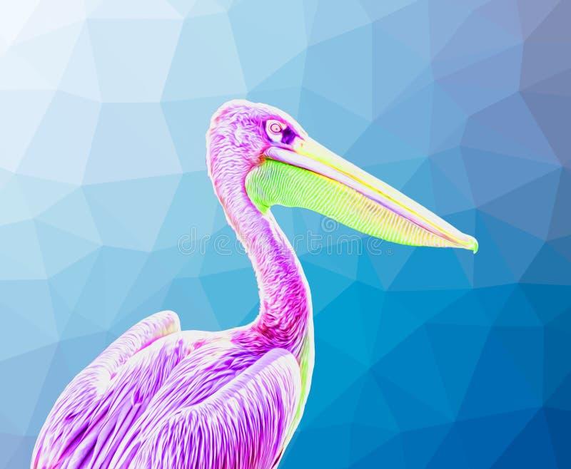 Purple Pelican Bird - Surreal Art stock abbildung