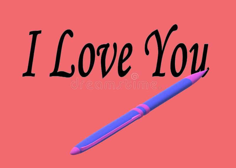 A purple pen writing the words I Love You against a light red maroon backdrop vector illustration