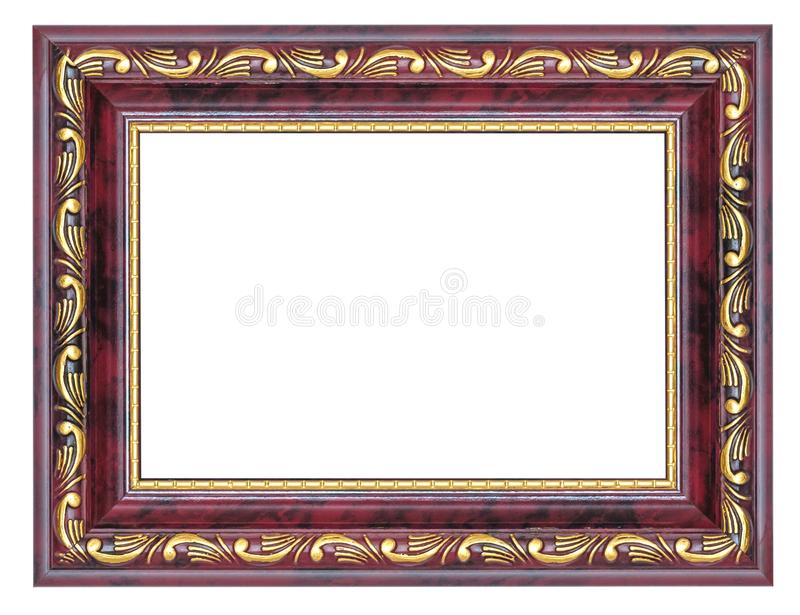 Purple picture frame with gilded pattern isolated royalty free stock photo