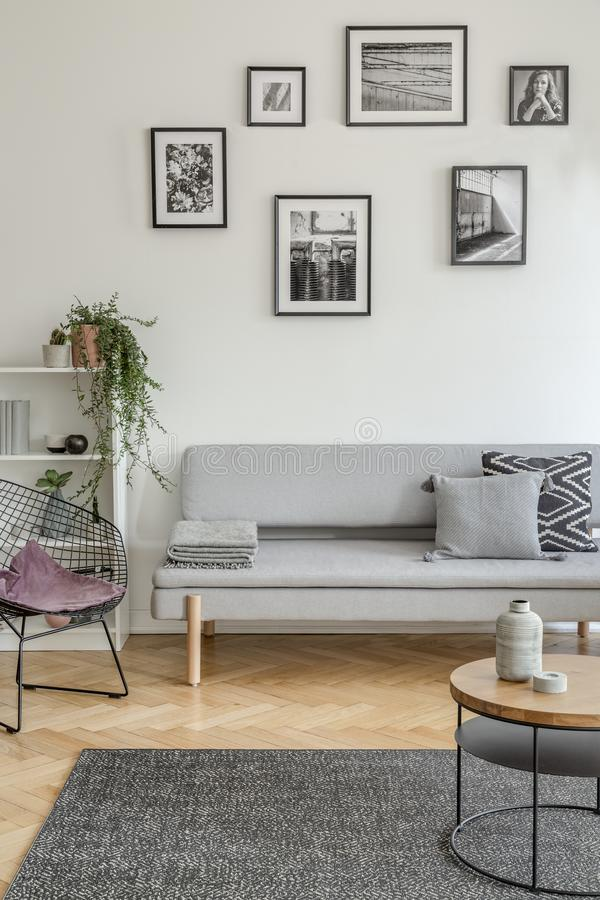 Free Purple Pillow On Stylish Metal Chair In Fashionable Living Room Interior With Scandinavian Design Royalty Free Stock Image - 150213336