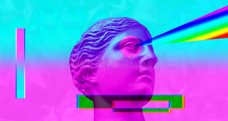 Purple pink antique sculpture on a retro vaporwave background. Contemporary art collage. stock photo