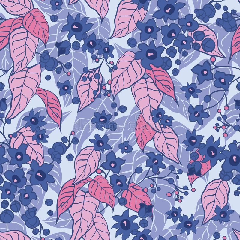 Purple pink blooming tree summer floral pattern with botanical motifs scattered random. Seamless vector texture royalty free illustration