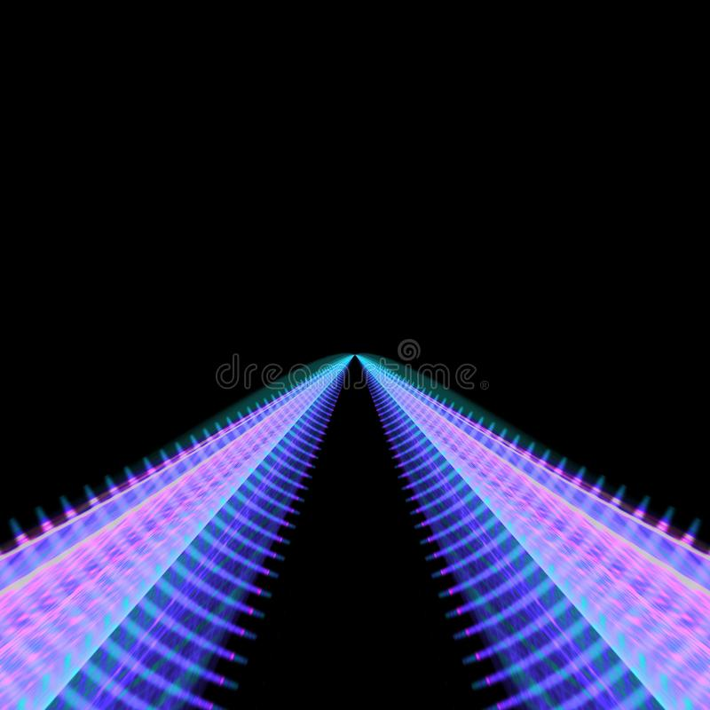 Twin curved tracks leading into the distance stock illustration