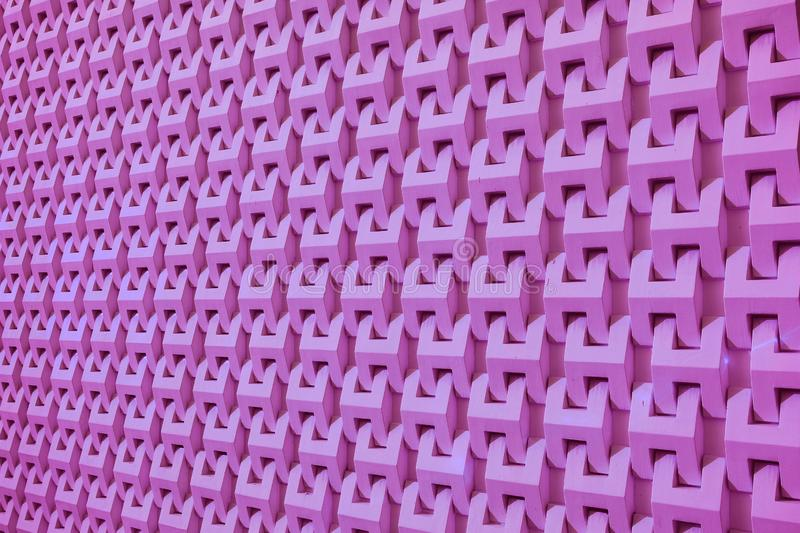 Purple Pink Colored Diminishing Perspective of a Modern Building Decorative Facade for Background royalty free stock images