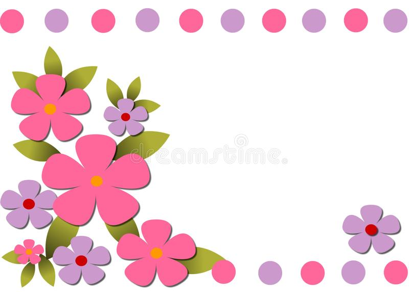 Floral Thank you card Note stock illustration