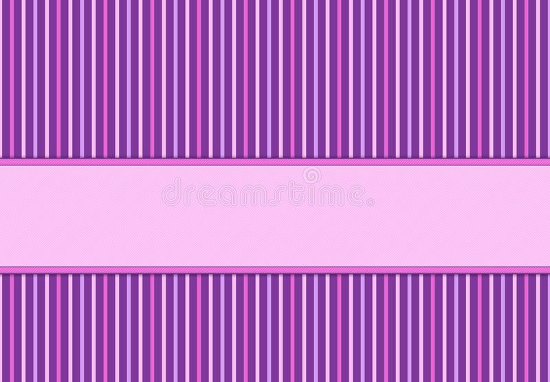 Purple and pink invitation card with polka dots and stripes. stock photography