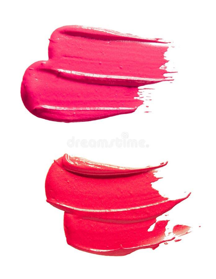 Purple pink lipstick background texture smudge samples stock photos
