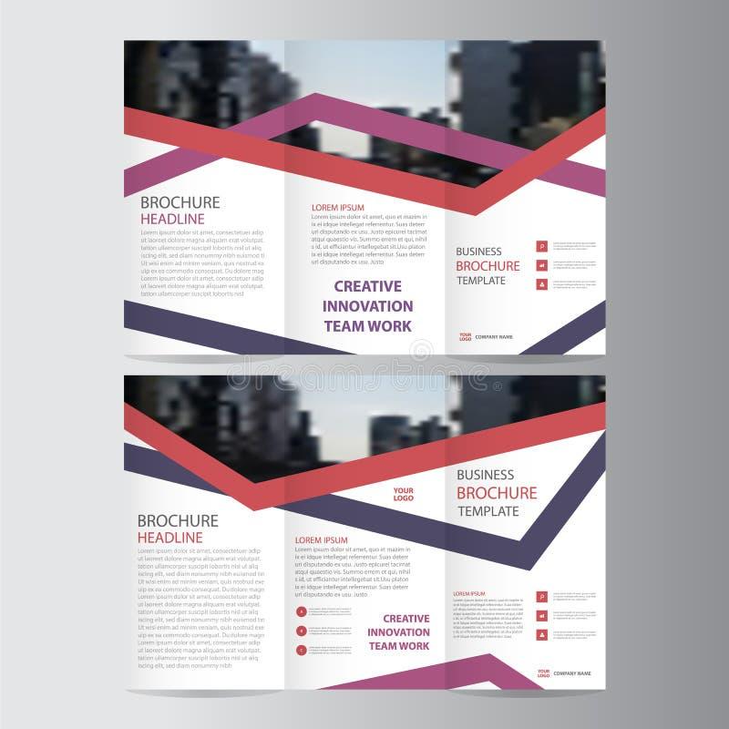 Purple pink red elegance business trifold business Leaflet Brochure Flyer template vector minimal flat design. Set royalty free illustration