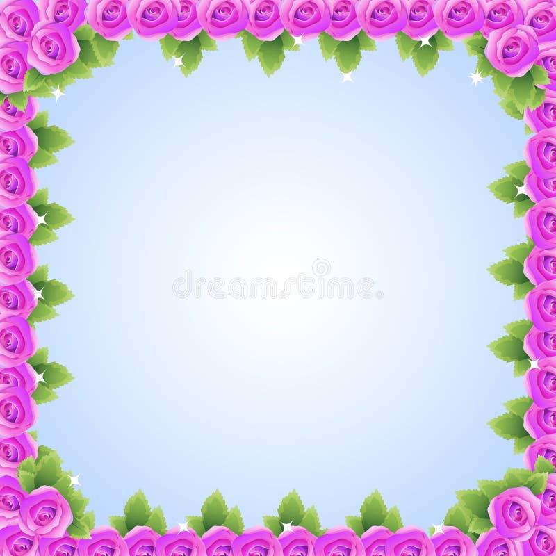 Purple pink roses frame. Illustration as canvas, frame, of purple pink roses with glitter royalty free illustration