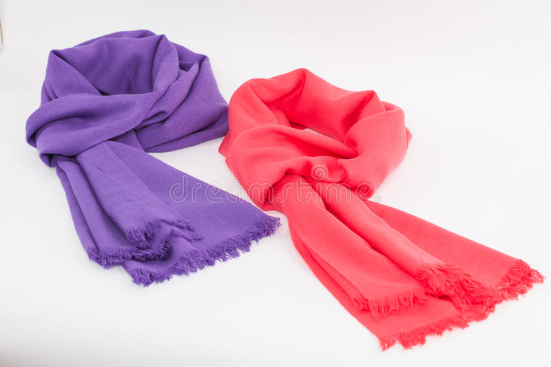 Purple and pink scarves stock photos